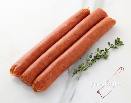 House Made Texas Bbq Beef Sausages (Price per 250g, Approx 12 per Kg)