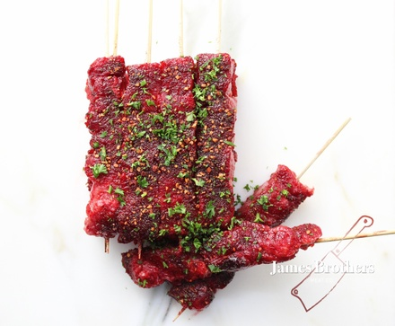 10 Pack of Red Wine and Garlic Marinated Tender Beef Kebabs (Price per pack of 10)