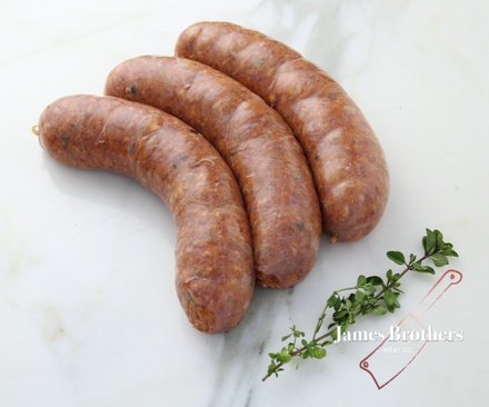House Made Smokey Bacon and Maple Beef Sausages (Price per 250g, Approx 8 per Kg)